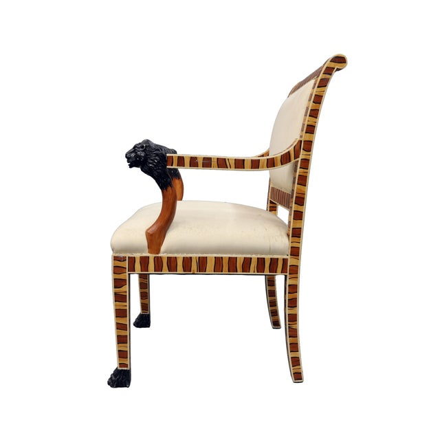 English Vintage Mid Century Hand Painted Faux Wood Arm Chair For Sale - Image 3 of 7
