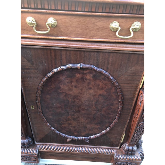 Mahogany Chippendale Style Double Pedestal Partners Desk For Sale - Image 10 of 12