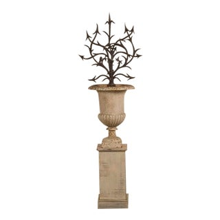 Hand Forged Iron Bush Set in an Iron Urn, France c.1880 For Sale