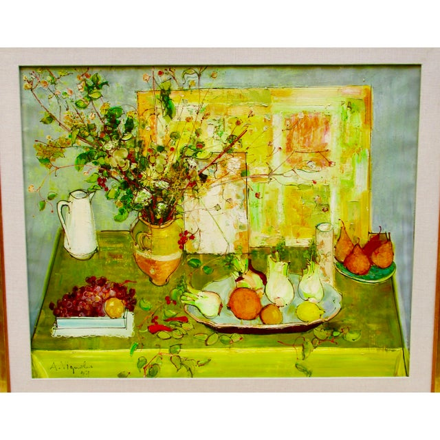 Andre Vignoles ( 1920- 2017) painting on canvas still life dated 1957. Post-impressionist work from mid century. France....