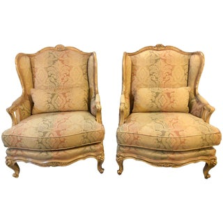 Pair of Distressed Palatial Louis XV Style Wingback or Bergere Chairs For Sale