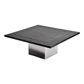 French Black Granite Coffee Table With Metal Base For Sale
