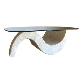 Vintage Mid Century Post Modern Sculptural Minimalist Plaster Wave Coffee Table For Sale