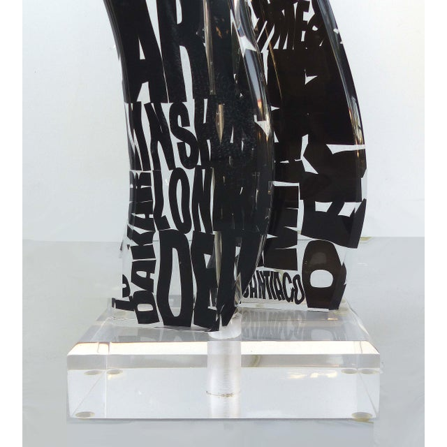 Mid-Century Modern Mod Graphic Lucite and Acrylic Lamp For Sale - Image 3 of 7