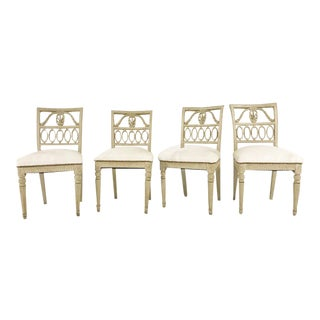 Forsyth One of a Kind 18th Century Swedish Painted Side Chairs Reupholstered in Ivory Brazilian Cowhide - Set of 4