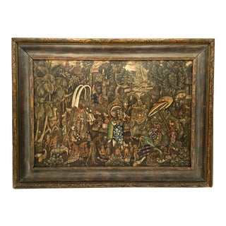 Mid 20th Century Balinese Barong Dance Oil Painting For Sale