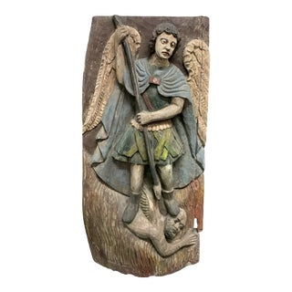 Mid 20th Century Carved Solid Wood Polychrome Religious Saint Michael Plaque For Sale