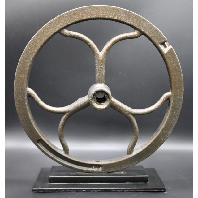 Vintage Iron Pulley on Custom Mount For Sale - Image 10 of 10