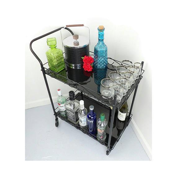 Mid-Century Modern Black Metal & Glass Bar Cart For Sale - Image 5 of 7