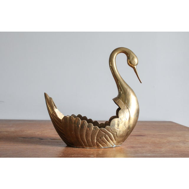 1960's Vintage Art Deco Brass Scalloped Swan Planter For Sale - Image 11 of 11