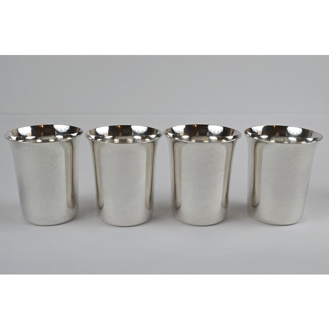 20th Century Sterling Silver Shot Glasses - Set of 4 For Sale - Image 6 of 8