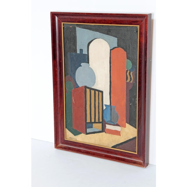 A oil on canvas abstract still life by Flora Scofield (American 1873-1960). An Illinois artist who lived in Chicago, she...