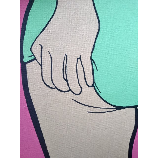 Hot Pink Lictenstien Inspired Original Pop Art Acrylic Painting For Sale - Image 8 of 11