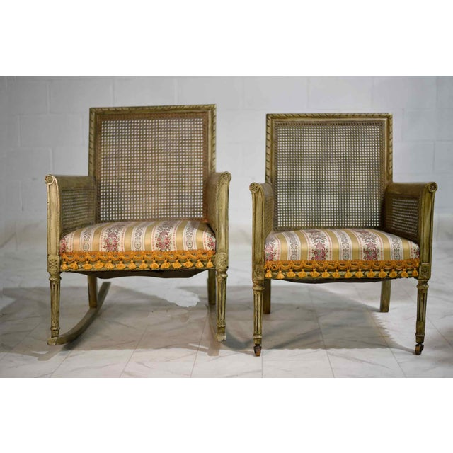 French Mid-Century Cane-Back Tassel Fringe Rocking and Arm Chairs - a Pair For Sale - Image 3 of 11