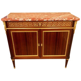 19th Century Louis XVI French Marble Top Greek Key Commode, Server or Cabinet For Sale