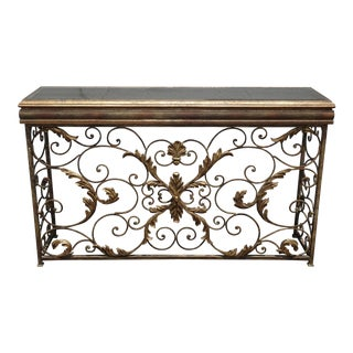 Vintage Ornate Iron & Metal Gold Scrolled Console Entry Table W Veined Mirror For Sale