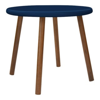 """Peewee Small Round 23.5"""" Kids Table in Walnut With Deep Blue Finish Accent For Sale"""