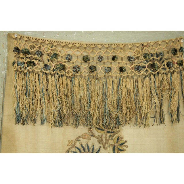 Silk Antique Silk Scarf Metallic Embroidered Ottoman Runner Textile For Sale - Image 7 of 9
