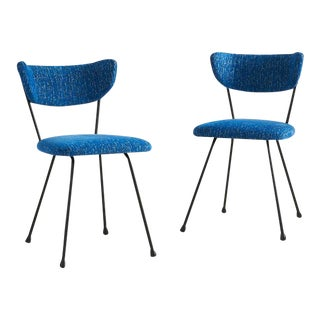 Pair of Mid Century Iron Chairs With Blue Upholstery For Sale