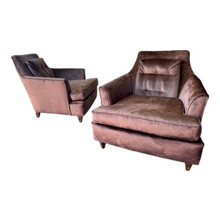 Reupholstered Mid Century Modern Lounge Chairs in Velvet - a Pair For Sale