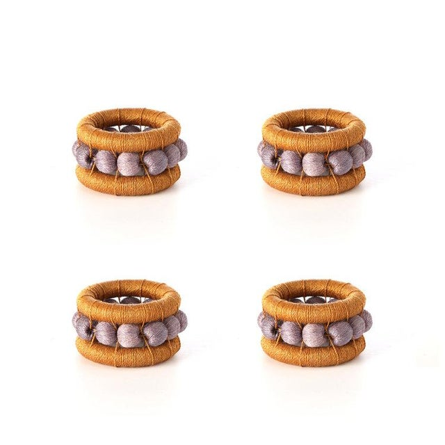 Boho Chic Berry Napkin Rings Ochre & Lilac - Set of 4 For Sale - Image 3 of 3