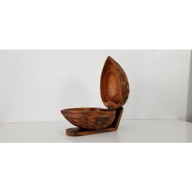 Large Sculptural Walnut Shape Decorative Wood Box For Sale - Image 4 of 9