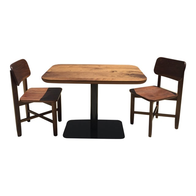 Rich Walnut Cafe Table & 2 Chairs - Image 1 of 9
