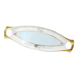 Limoges Hand Painted Gilt Trim Celery Dish Plate Serving Tray For Sale