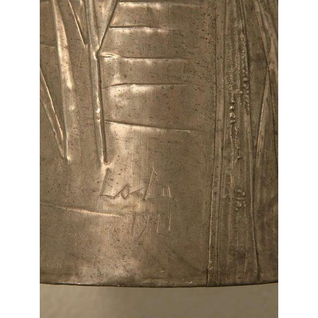 Metal Signed French Art Nouveau Metal Vase For Sale - Image 7 of 10