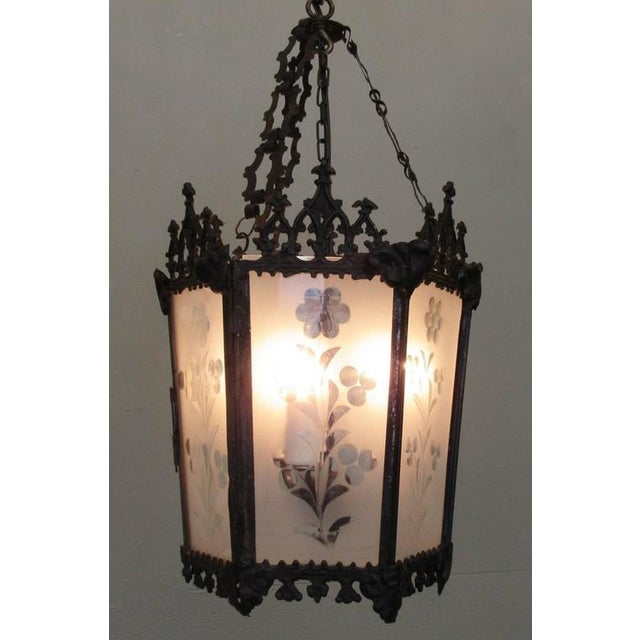 Brass Mid-19th Century New Orleans Gothic Ebonized Brass Lantern For Sale - Image 7 of 7