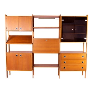 Ello Teak Mid Century 3 Bay Wall Unit For Sale
