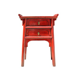 Chinese Distressed Red Point Edge Narrow Slim Foyer Side Table For Sale