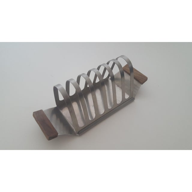 Contemporary Mid Century Stainless Steel and Rosewood Toast Rack Holder For Sale - Image 3 of 11