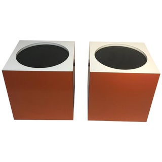1970s Modern Verner Panton Style Cube Side Tables - a Pair For Sale