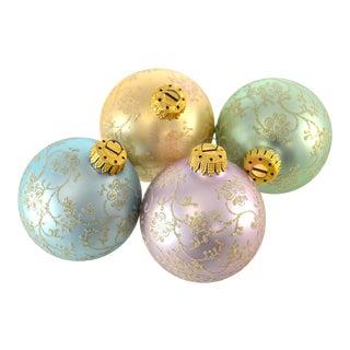 Pastel Iridescent Glitter Glass Ball Ornaments - Set of 4
