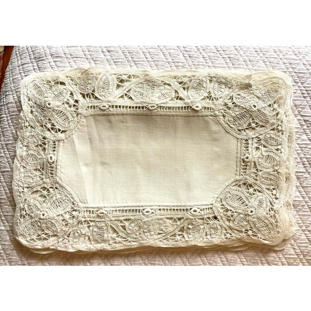 This is a rare 22 piece set of antique (late 19th century - early 20th century) Battenberg or tape lace and linen creamy...