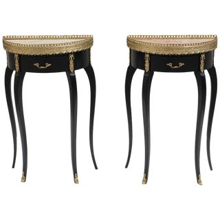 Maison Jansen French Louis XVI Marble Top Side Tables - a Pair