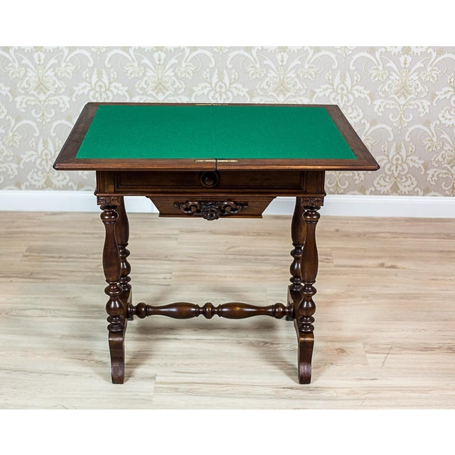19th Century Walnut Sewing Table or Card Table For Sale - Image 9 of 13
