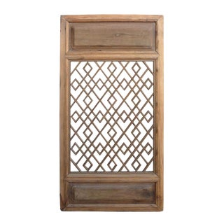 Natural Wood Color Vintage Chinese Wood Wall Display Decorative Panel For Sale