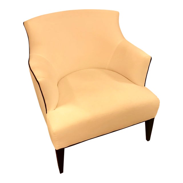 Custom-Made Classic Modern Lined Armchair For Sale