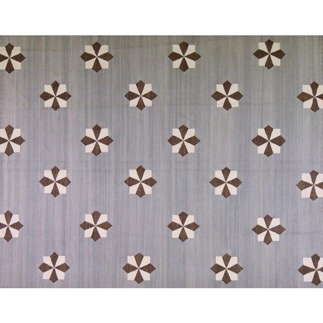 "Vintage Modern Hand Made Organic Cotton Natural Color Modern Kilim,8'x10'2"" For Sale"