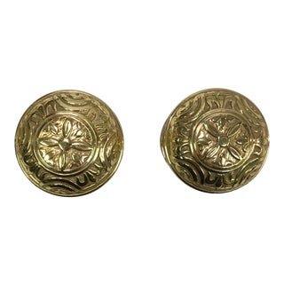 Antique Style Eastlake Heavy Brass Doorknobs - a Pair For Sale
