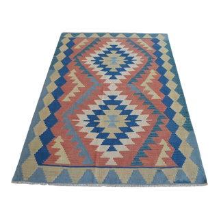 1980s Hand Woven Kilim Turkish Flat Weave Rug For Sale