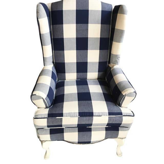 Buffalo Check Wingback Chair - Image 1 of 6