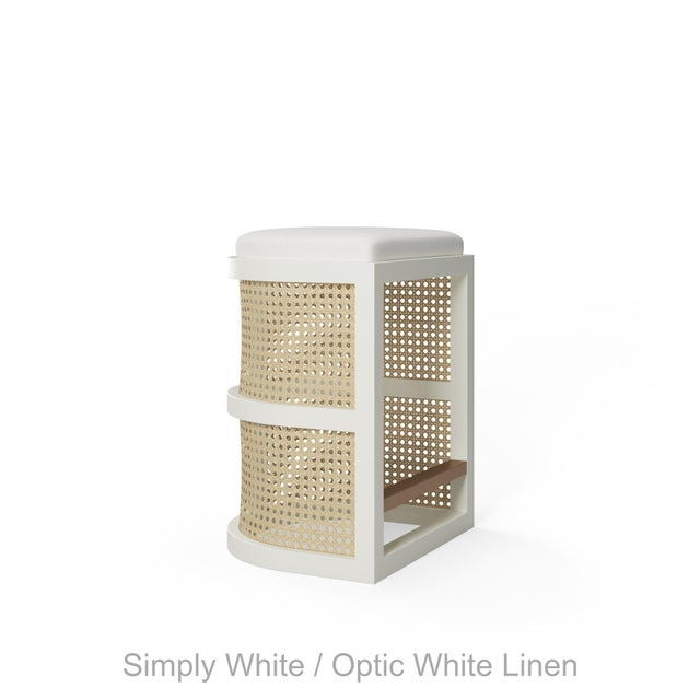 Isabella Counter Stool - Summer Mist Blue, Optic White Linen For Sale - Image 4 of 5