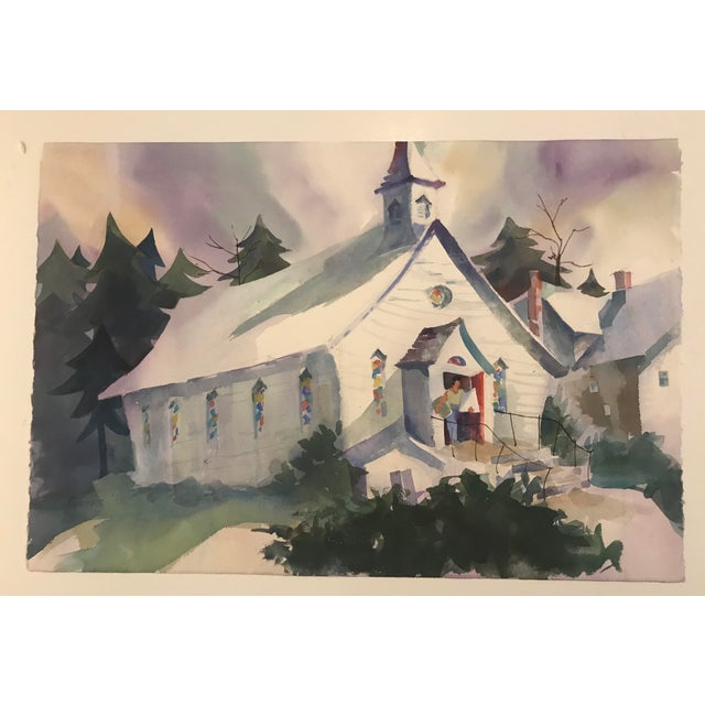 1980s Geers Cityscape With Church Painting For Sale - Image 6 of 6
