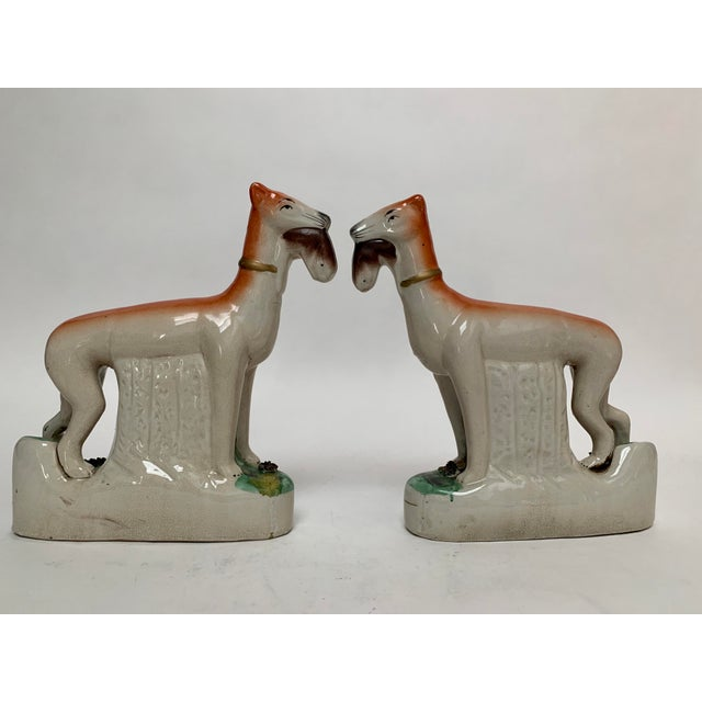 Staffordshire Staffordshire Ceramic Dogs – a Pair For Sale - Image 4 of 12
