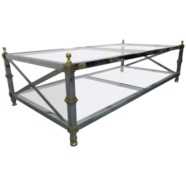 Chrome and Brass Coffee Table For Sale