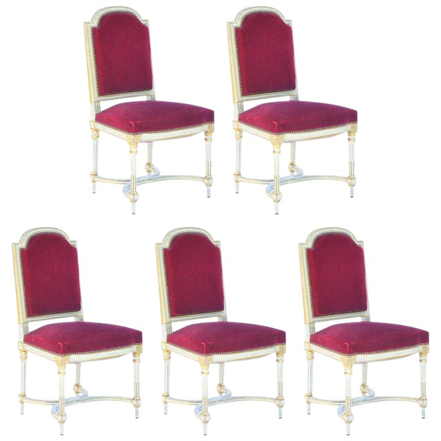 Vintage Crimson Velvet Chairs in the Style of Maison Jansen- Set of 5 For Sale