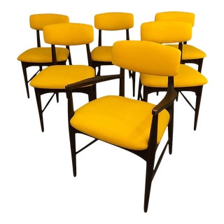 Mid-Century Modern Dining Chairs With Yellow Mustard Upholstery 1960s For Sale
